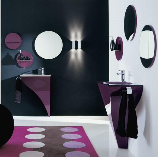 Стильная фиолетовая ванна фото 3
