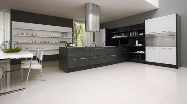 Современная кухня в чёрно-белом фото 1