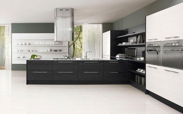 Современная кухня в чёрно-белом фото 3