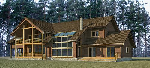 367/07 – проект деревянного дома фасад 1