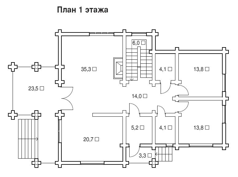 """Деревянный дом """"Дарья I"""" фасад план второго этажа"""