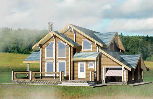 Проект деревянного дома Радонеж - фасад фото 0