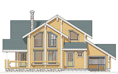 Проект деревянного дома Радонеж - фасад фото 1