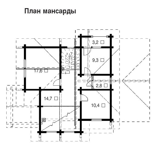 Проект деревянного дома Радонеж - план мансарды фото