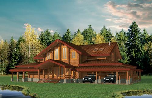 Большой деревянный дом - БК-505 - фасад