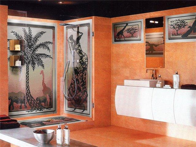 Оригинальный оранжевый интерьер ванной