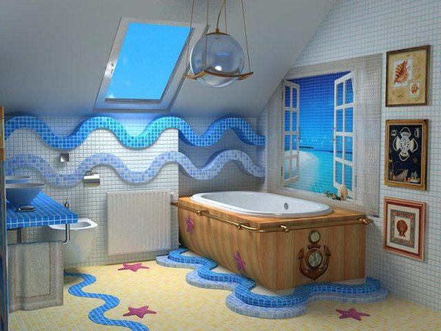 Морской стиль оформления ванной комнаты