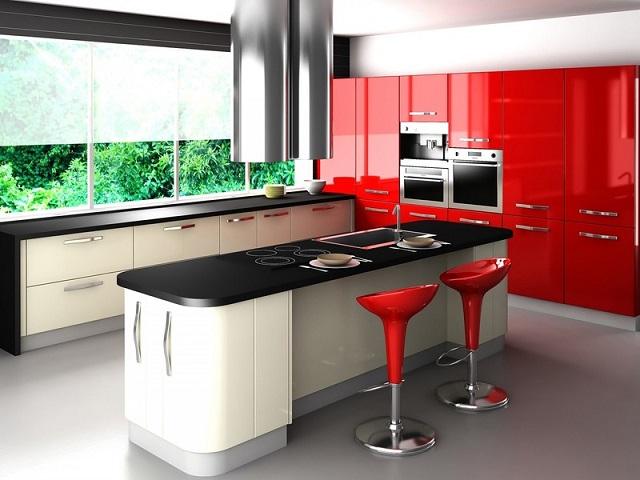 Необычный красный дизайн кухни