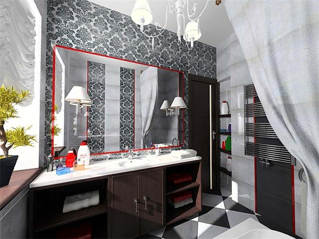 Оригинальный интерьер маленькой ванной