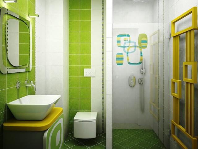 Оригинальный зеленый дизайн ванной