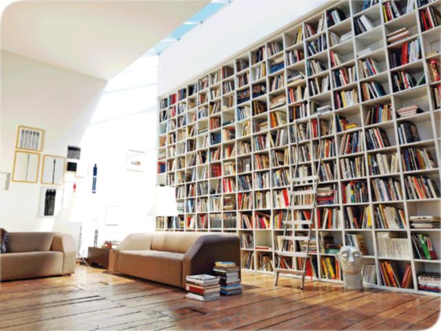 Домашняя библиотека в интерьере комнаты