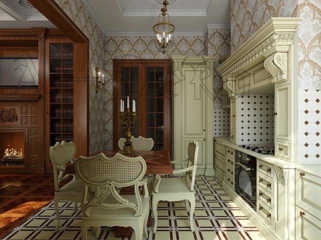 Старинный стиль в интерьере кухни