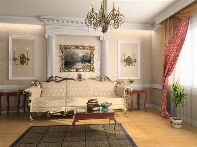 Использование лепнины в интерьере гостиной