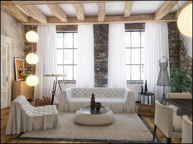 Как оформить гостиную в стиле лофт